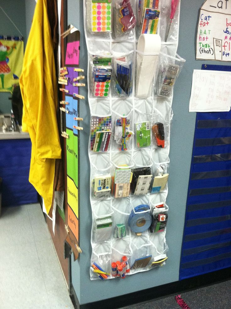 No teacher desk = more room for the kids, she used a shoe organizer for her supplies...Kindergarten Photos: Mrs. Partin | The Cornerstone