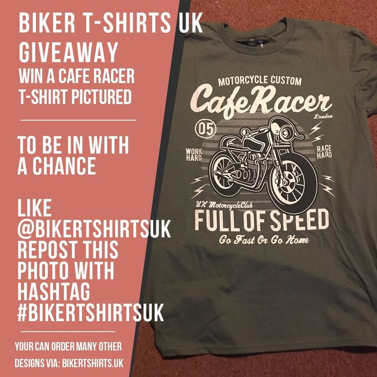Biker T-Shirts UK Giveaway ··· Win a Cafe Racer T-shirt ··· We are giving away three  T-shirts: ··· One for USA/Canada followers One for UK/EU followers One for Australian followers  ··· To be in with a chance follow @bikertshirtsuk repost this photo with hashtag #bikertshirtsuk