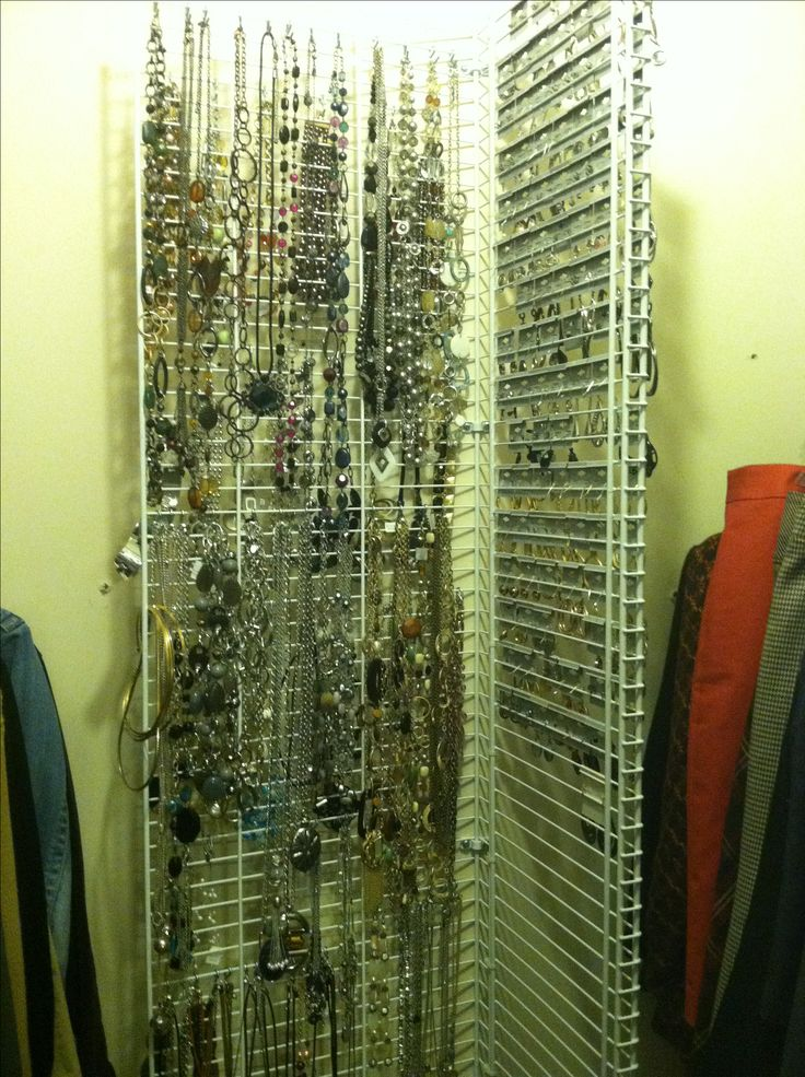 Do It Yourself Home Wiring: Do It Yourself Jewelry Rack Made From Wire Closet Shelves. I Connected Two Racks With Plastic