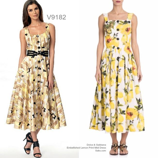 Sew the Look: Sundress with a full skirt. Try Vogue Patterns V9182 button-front midi dress pattern.