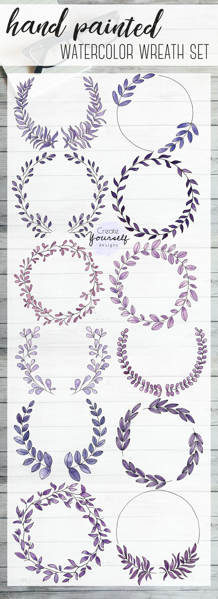 Watercolor wreath clip art set 12 purple watercol…