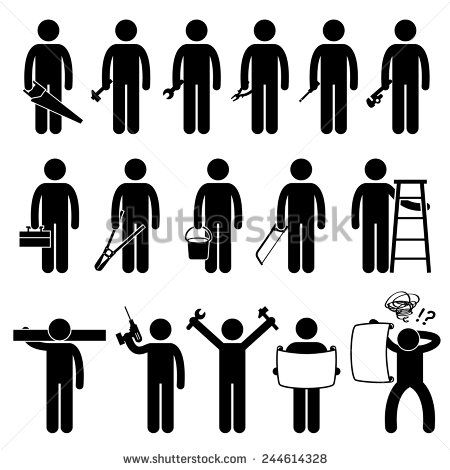 Handyman Worker using DIY work tools Stick Figure Pictogram Icons