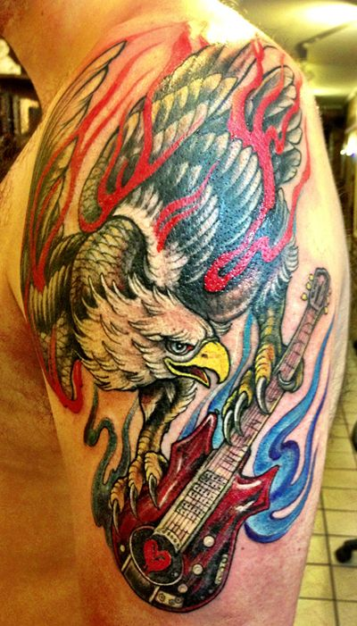 screaming eagle with jerry garcia signature grateful dead guitar tattoo by ray jerez inborn. Black Bedroom Furniture Sets. Home Design Ideas