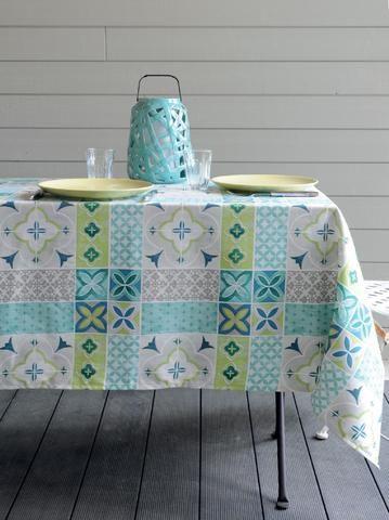 Stof - Nappe coton enduit anti tache carree Ciment - Gris-Bleu-Vert - 155x155 cm - Home Beddings and Curtains