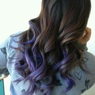 dark brown curly hair with purple tips hair