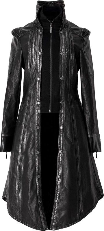 A majestic women's coat in leather-look, black with silver accents, and wings detail in back. By goth apparel designers Punk Rave.