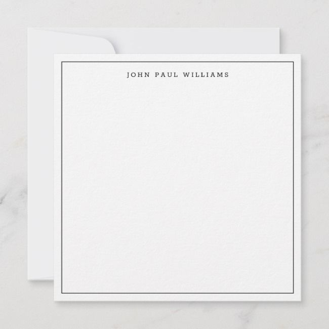 Black Classic Simple Minimalist Thin Border Square Note Card Zazzle Com Note Cards Custom Cards Printing Double Sided