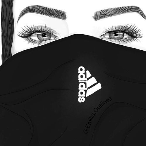 dessins de fille tumblr    adidas, art, girl, outlines, style - image #3534184 by helena888 on ...