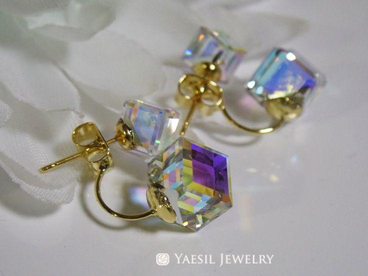 Double Crystal Cube Earrings, [6/8] Floating Cube Crystal Earrings, Crystal Drop Earrings, Sterling Silver Post, Quality Swarovski Elements by YaesilJewelry on Etsy
