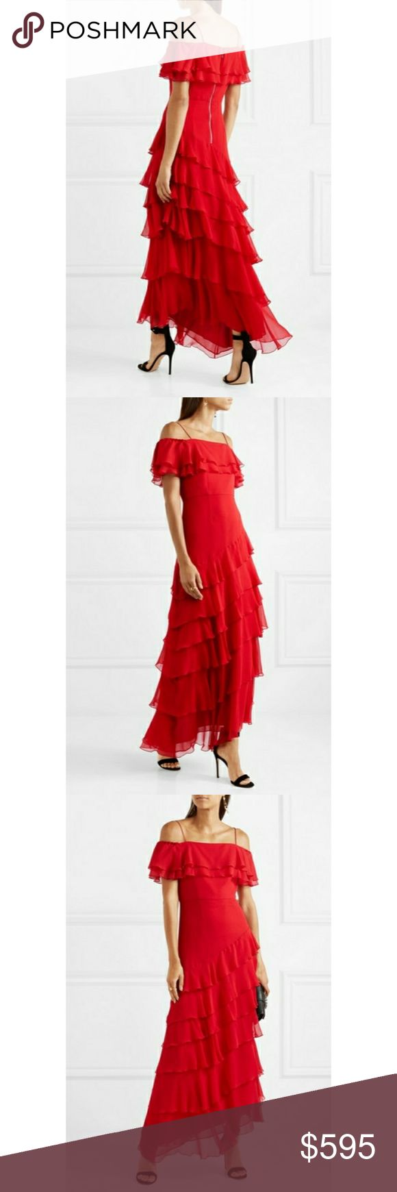 Alice and Olivia Elioisa ruffled off-the-shoulder ❤Red dresses are such a good choice for parties - they have instant impact and look great in photographs. Alice + Olivia's 'Elioisa' gown is cut from silk-chiffon in ruffled tiers and sits off the shoulder. Though the skirt is long, the hem is cut asymmetrically so this piece feels light and breezy to wear.❤  - Red silk-chiffon  - Zip fastening along back  - 100% silk; trim: 91% silk, 9% elastane; lining: 94% polyester, 6% elastane  - Dry…