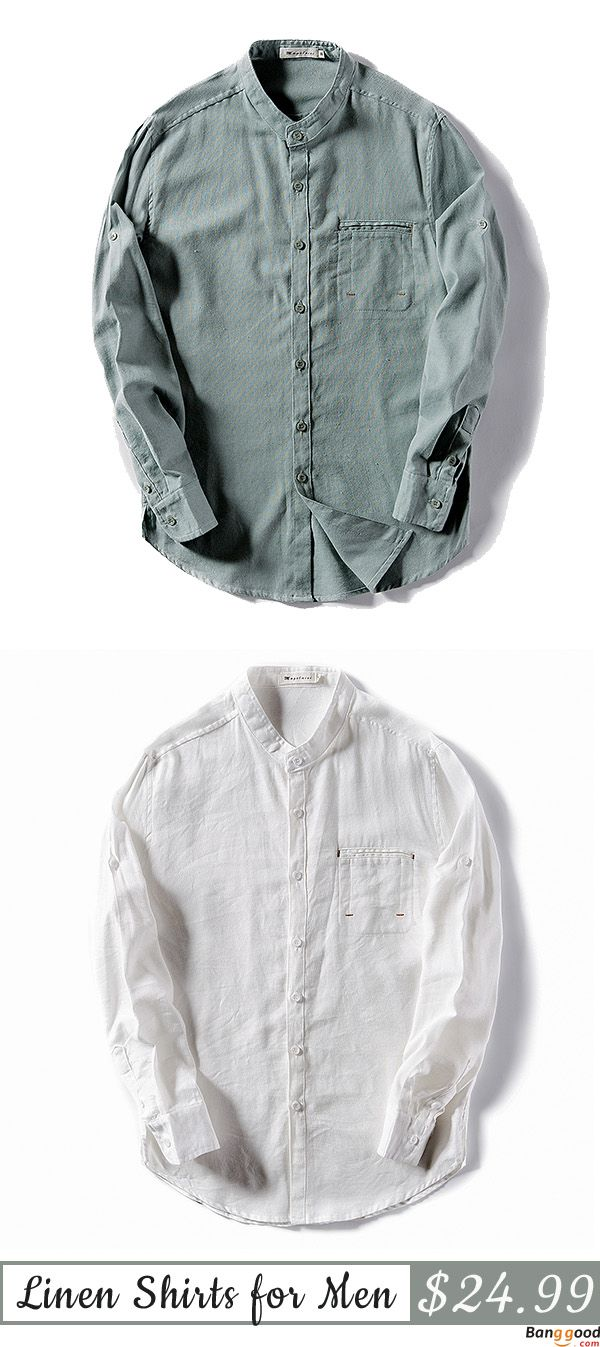 US$24.99 + Free Shipping. Mens Linen White Breathable Solid Color Fashion Slim Stand Collar Autumn Long Sleeve Casual Shirts. US Size: S - 2XL. Color: White, Navy, Green. Cotton & Linen, Gives You Best Feeling.