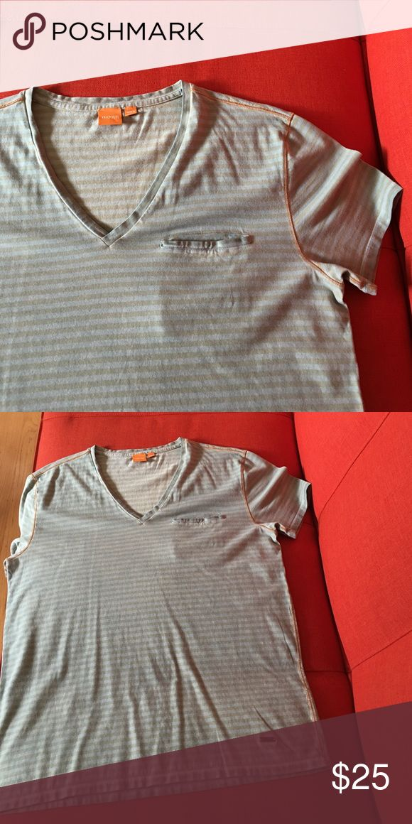 Hugo Boss V-Neck T-Shirt Hugo Boss V-Neck T-Shirt. Green and light orange with bright orange stitch detail. Like new condition. My guy wore it a few times. BOSS ORANGE Shirts Tees - Short Sleeve