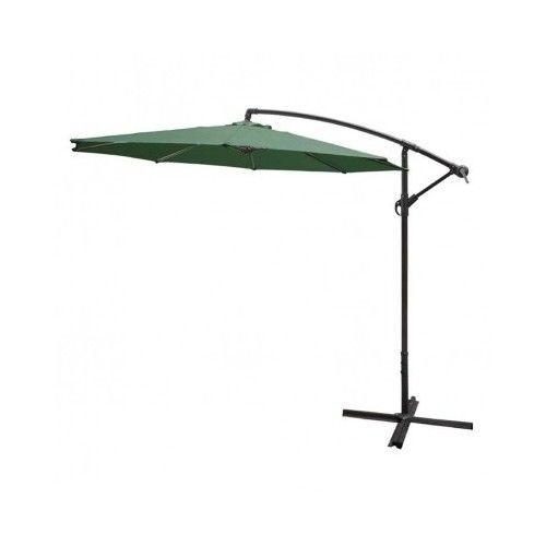 Overhanging Parasol Green Canopy Steel Frame Outdoor Garden Yard Patio Furniture