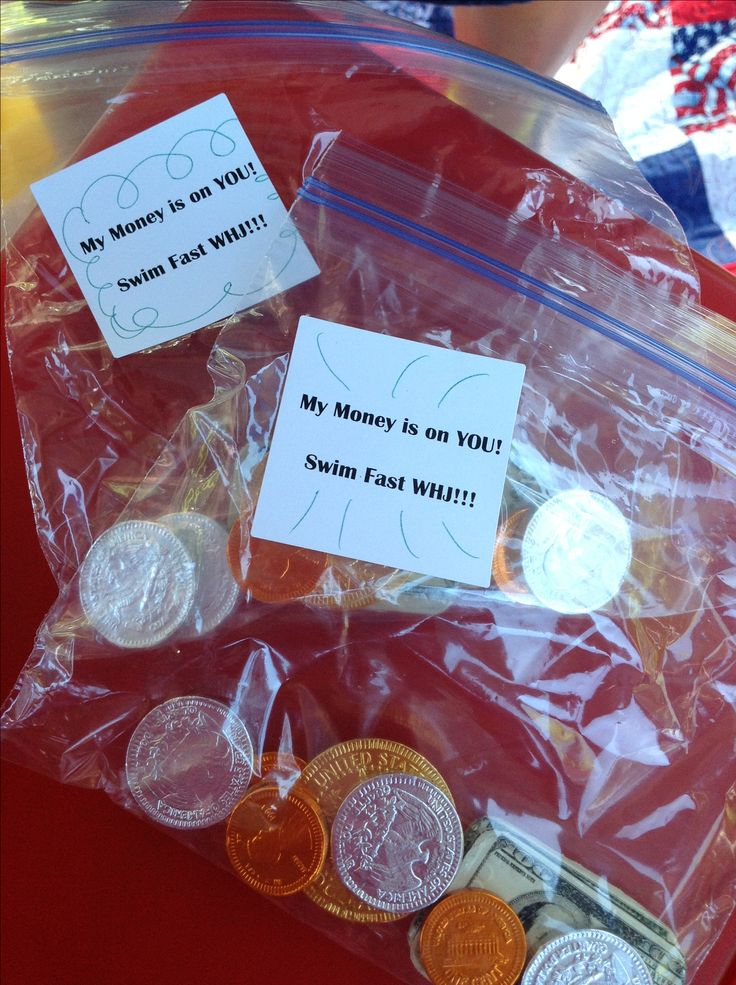 """Swim team treats.  Chocolate money and labels with """" my money is on You!"""""""