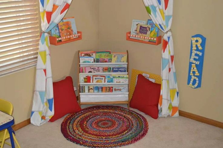 Create a reading area using a bent curtain rod in the corner for cute curtains. Add shelves, pillows and your favorite books to finish.