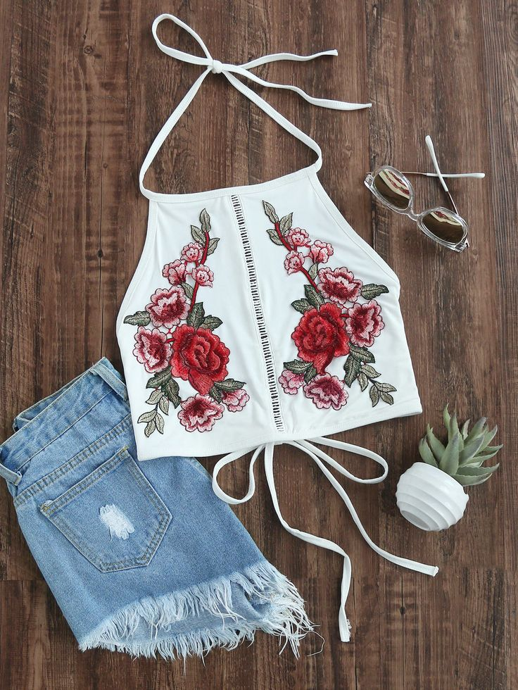 Shop Tie Detail Appliques Crop Halter Top online. SheIn offers Tie Detail Appliques Crop Halter Top & more to fit your fashionable needs.