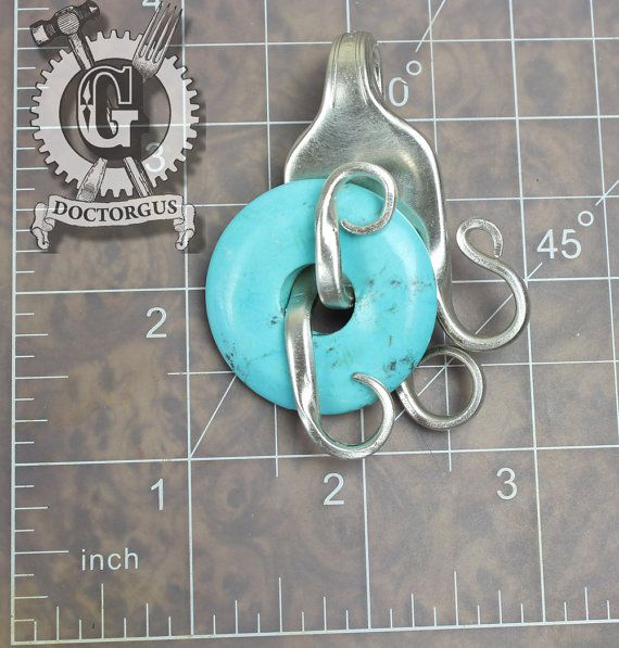Turquoise Howlite Fork Pendant - Handmade by Doctorgus from Recycled Vintage Silverware - Repurposed Upcycled Fork Jewelry Free Shipping