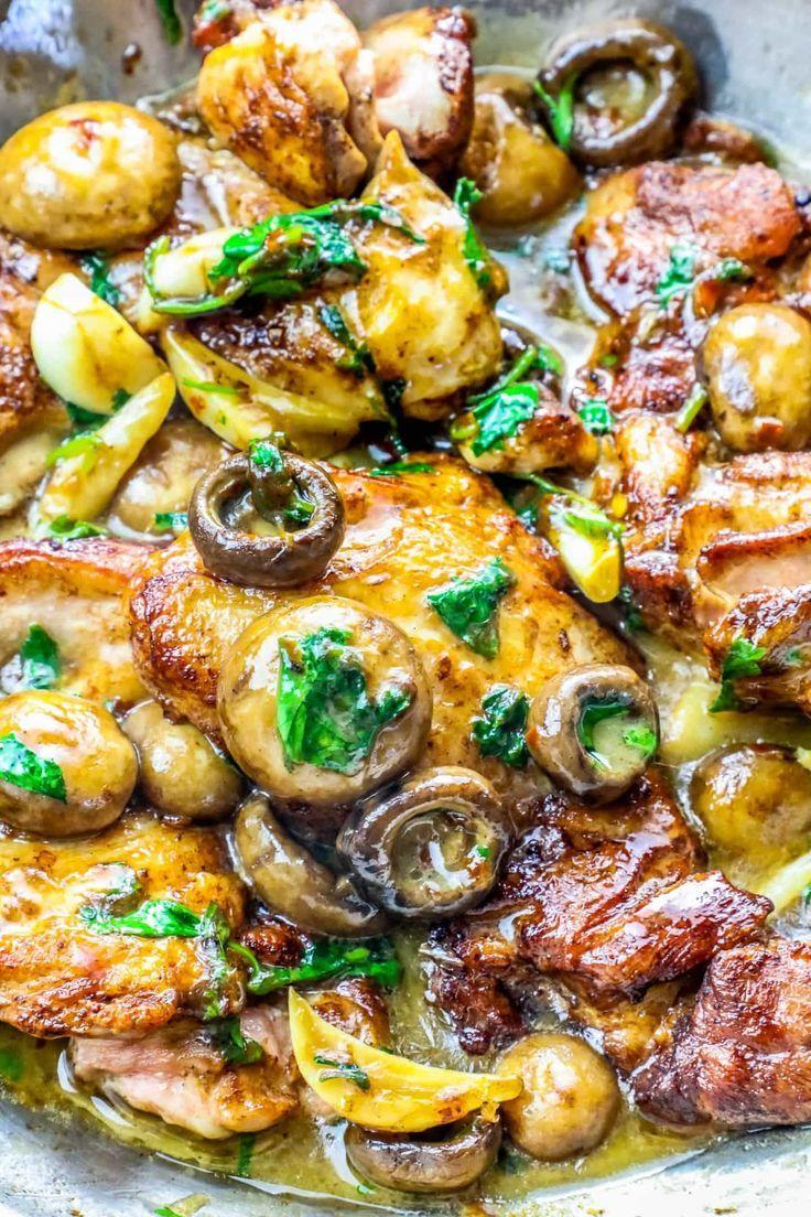 Garlic Butter Chicken Thighs And Mushrooms Garlic Butter Chicken Baked Ranch Chicken Chicken Thighs Mushrooms