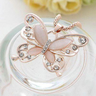 Oro Rosa ciondolo a farfalla Catena Lunga maglie Collana Moda Gioielli Da Donna