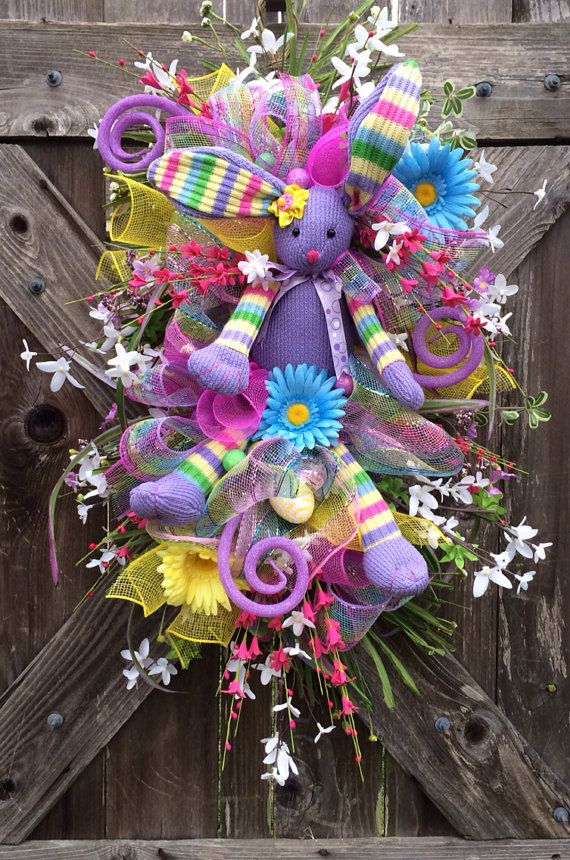 Spring Swag, Spring Wreath, Easter Swag, Easter Wreath, Easter Door Hanging, Lavender Bunny Hip Hop Hooray on Etsy, $89.00