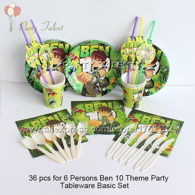 Ну вечеринку поставляет 36 шт. для 6 человек бен 10 тема день рождения ну вечеринку украшения одноразовая посуда базовый комплект, плита чашки салфетки т . д .