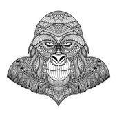 Las líneas limpias doodle arte diseño de gorila, para el libro de colorear adultos, anti estrés, libro, para colorear los niños para colorear libro para colorear libro para divertirse, gráfico de T - Shirt - Stock Vector — Ilustración de stock #111816008