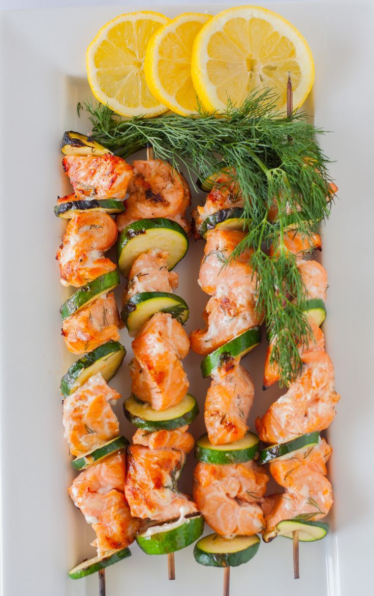 Lemon and Dill Barbecue Salmon Kabobs - Vinegar, lemon juice and zest add a nice zing to salmon. #recipe #salmon #kabob Plating Pixels: