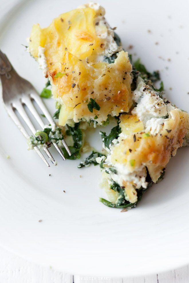Zapiekanka ze szpinakiem, serem i ziemniakami
