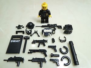 No 17 8 Custom SWAT Team Helmet Weapson Gun Police Army Parts for Lego | eBay