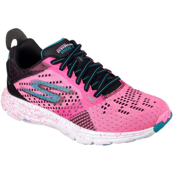 Skechers Women's Skechers Gorun Ride 6 - Los Angeles Marathon 2017... ($110) ❤ liked on Polyvore featuring shoes, sneakers, pink, skechers shoes, knit shoes, skechers trainers, pink trainers and pink sneakers