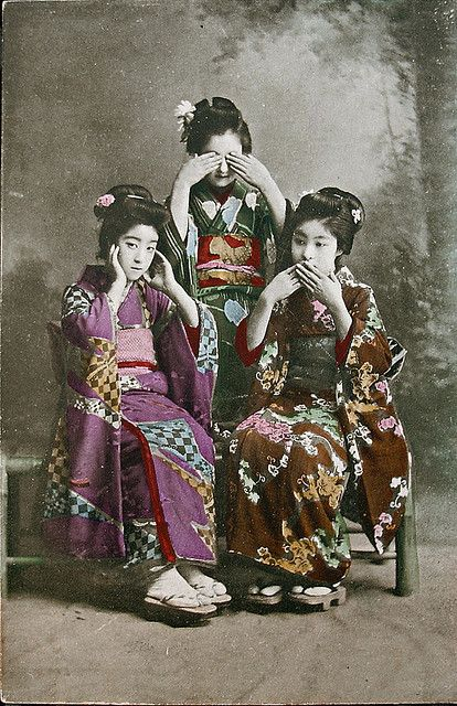 """Out of the thousands of geisha postcards circulated between the late 19th and early 20th centuries, a great many depict the """"hear, see, speak no evil"""" theme. While it is certainly a sexist allusion to gossiping and chit-chat, it also happens to go to the core of the geisha mystique. Or so it was back in the 1910s."""