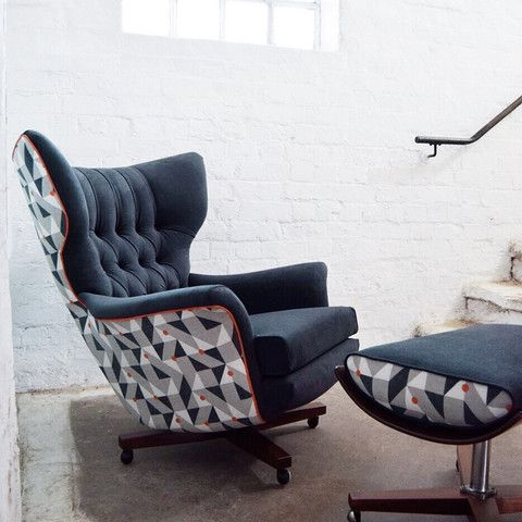 Restored by Florrie+Bill, an original vintage G Plan 6250 Swivel Chair and ottoman in Navy and Geometric print.