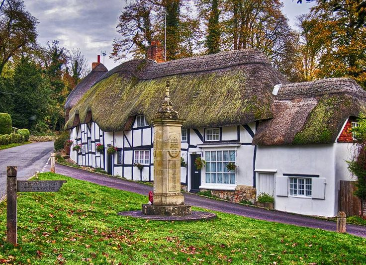 Thatched cottages in Wherwell, Hampshire, England.