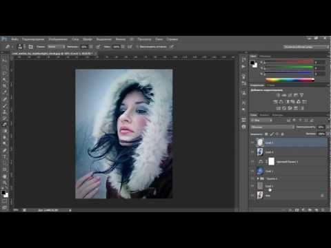 Уроки фотошопа. Обработка зимней фотографии - YouTube