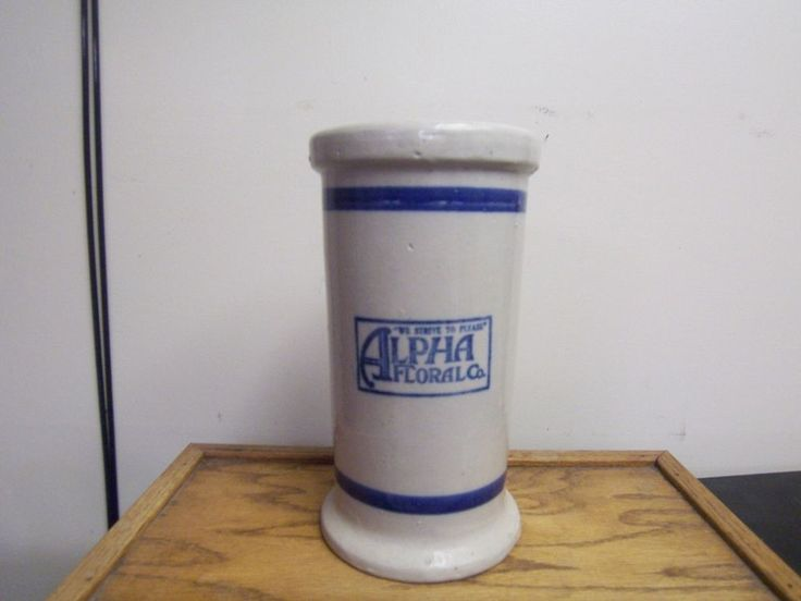 Red Wing Stoneware Blue Banded Flower Vase W/Advertising Alpha Floral Co. RARE!!