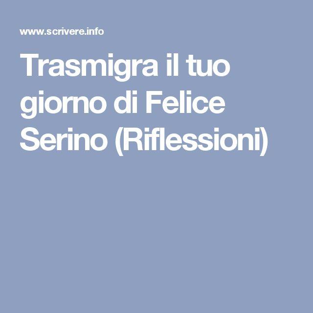 Trasmigra il tuo giorno di Felice Serino (Riflessioni)