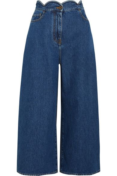 Valentino - Cropped Scalloped High-rise Wide-leg Jeans - Mid denim