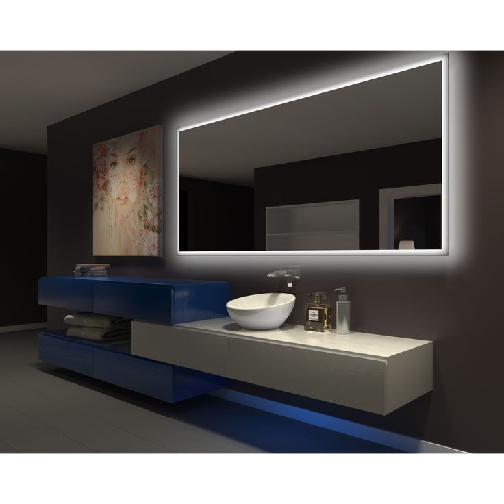 Gallery Website IB Mirror Dimmable Backlit Bathroom Mirror Rectangle In X In K RECT