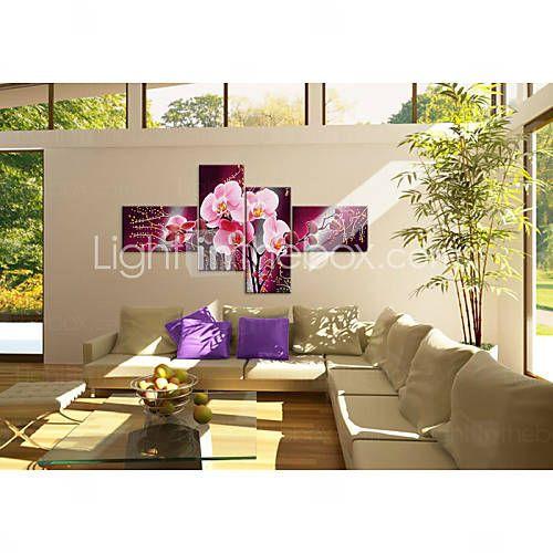 handgeschilderde moderne decoratieve olieverf op doek kunst aan de muur bloem foto van de woonkamer 4 stuks / set zonder frame 3798840 2016 – €39.19