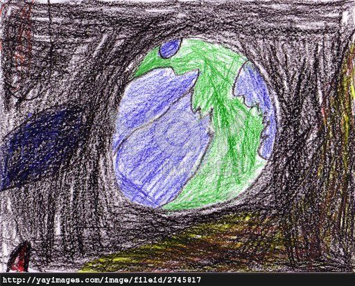 Kid drawing - space, spaceship, stars and planets