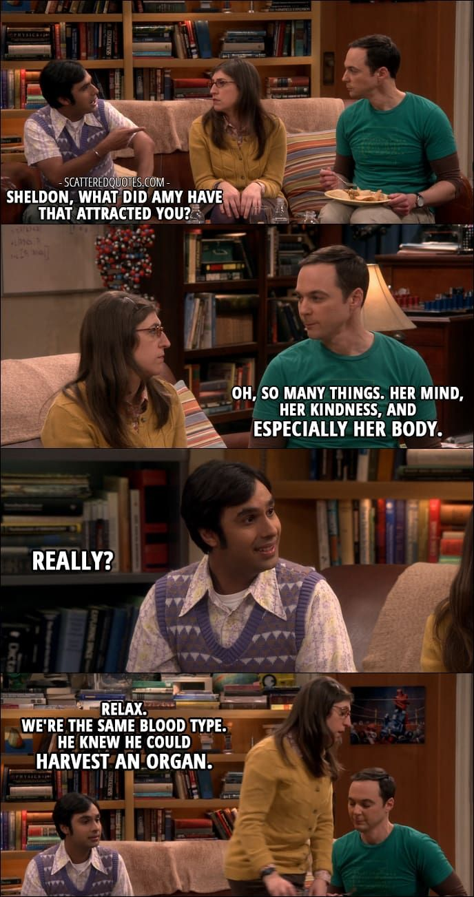 Quote from The Big Bang Theory 10x21 │  Rajesh Koothrappali: Sheldon, what did Amy have that attracted you? Sheldon Cooper: Oh, so many things. Her mind, her kindness, and especially her body. Rajesh Koothrappali: Really? Amy Farrah Fowler: Relax. We're the same blood type. He knew he could harvest an organ.