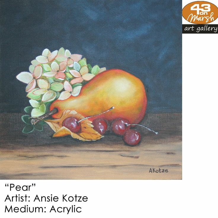 """Pear""  Acrylic on canvas by Ansie Kotze Contact 43 on Marsh #ArtGallery should you be interested in a work: 083 390 8000 #art #artist, #painting"