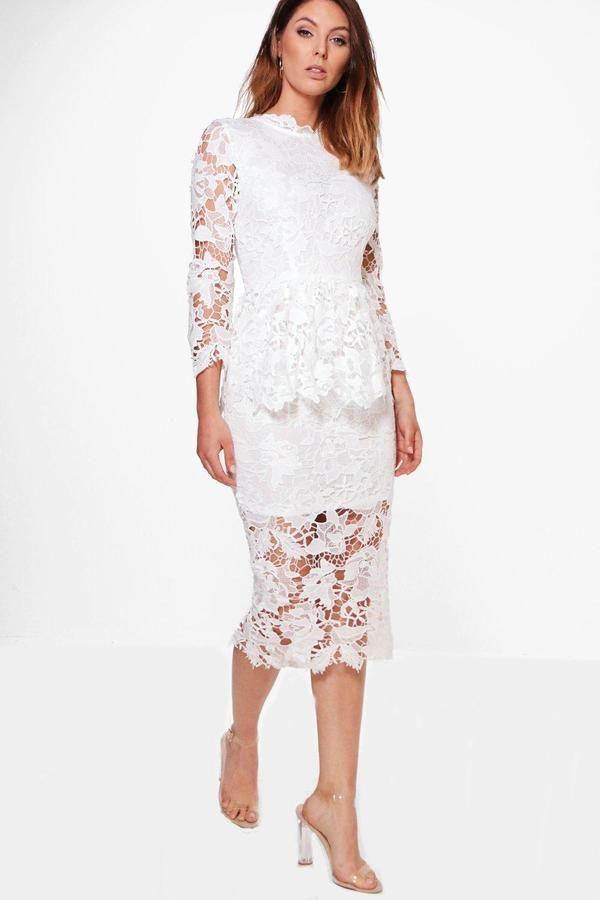 boohoo Boutique Kia Corded Lace Peplum Midi Dress