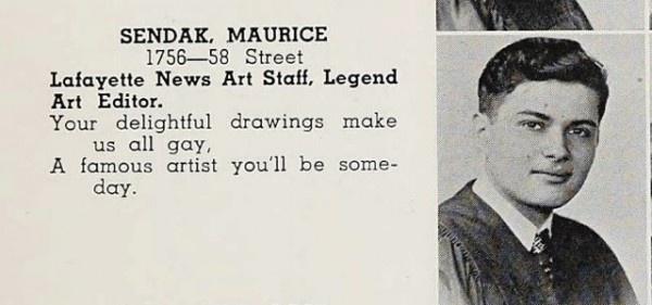Maurice Sendak in Brooklyn's Lafayette High School yearbook.