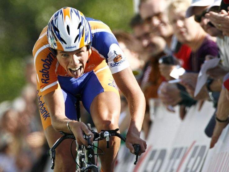 Thomas Dekker bei einem Zeitfahrsieg 2007 bei der Tour de Romandie. Foto: Laurent Gillieron