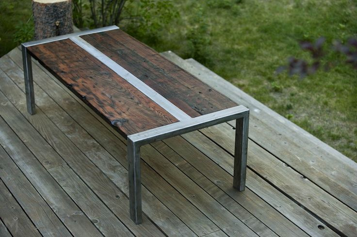 Industrial coffee table made of reclaimed redwood and steel | CustomMade