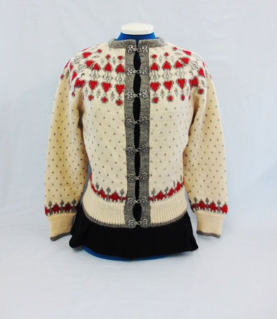 Handknit Nordic Fair Isle Wool Sweater O. Allers by hatboxpantry