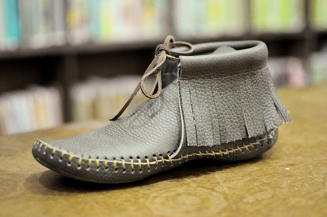 from the leather moccasin class at the workroom.