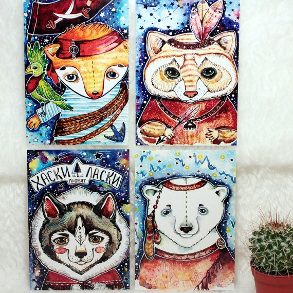 Animal Art Cards Watercolor Animal Art Set от LullabyForFox