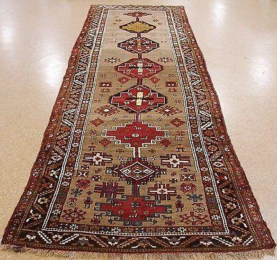 5x16 ANTIQUE PERSIAN KURDISH Tribal Hand Knotted Wool BEIGE RUNNER Oriental Rug